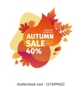Template design discount banner for autumn season. Poster special fall sale with orange flower, leaf decoration. Trandy Layout badge for autumnal offer on natural, floral gradient background. Vector