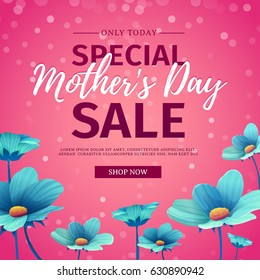 Template design discount banner for happy mother's day. Square poster for special mother's day sale with blue nature, flower decoration.  Square layout on pink background. Vector