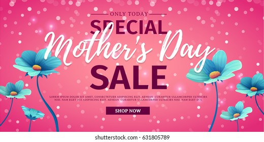 Template design discount banner for happy mother's day. Horizontal poster for special mother's day sale with blue nature, flower decoration.  Layout on pink background. Vector.