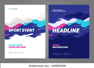 Template design with dynamic waves and lines for sport event, tournament or championship. Sport background.