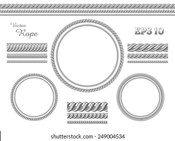 Template of design elements. Vector set of different thickness seamless ropes and rope frame isolated on white background