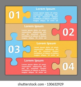 Template of design with four puzzle pieces, vector eps10 illustration