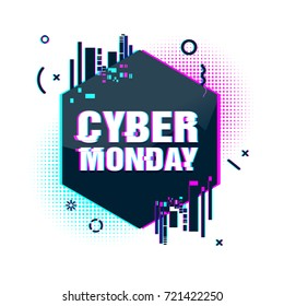 Template design geometric web banner for cyber monday offer. Promotion design in glitch style with geometric particle for cyber sale. vector