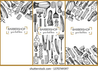 Template design with graphic illustrations for barbershop
