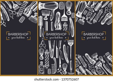 Template design with graphic illustrations for barbershop on the blackbackground