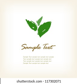 Template for design with hand drawn sketched leaves and sample text. Background with illustration and place for text