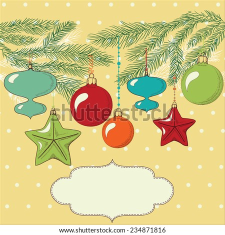 template design of holiday card with vintage christmas tree decorations and needles