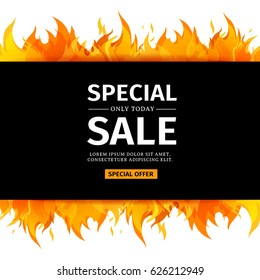 Template design horizontal banner with Special sale. Card for hot offer with frame fire graphic. Invitation layout with flame border on white background. Vector.