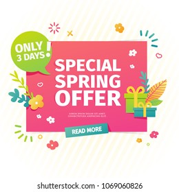 Template design horizontal web banner for spring offer. Advertising poster with a decor of flowers and leaves frame. Badge for the spring sale in a flat style.  Vector.