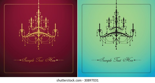template design of invitation with chandelier
