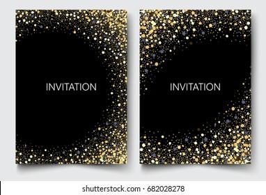 Template design of invitation.Gold glitter on black background
