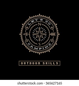 Template design label with arrow, star and direction of the compass in trendy linear style on black background. Vector illustration.