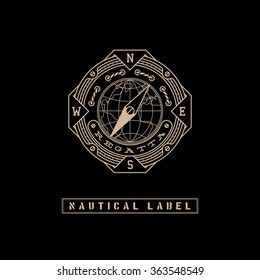 Template design label with rope, globe and compass in trendy linear style on black background. Vector illustration.