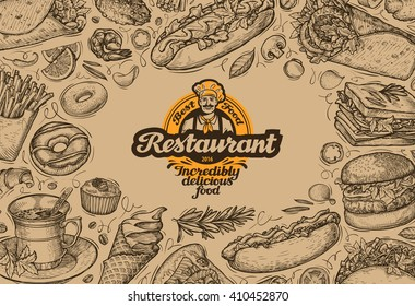 template design menu restaurant or diner. hand drawn food