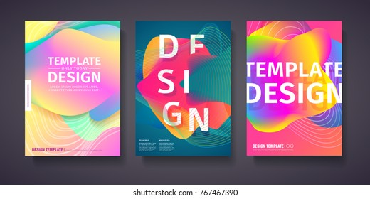 Template for the design of modern covers with a backdrop of an abstract color pastel gradient. Layout for flyer, party poster or brochure with color vibration waves. Vector.