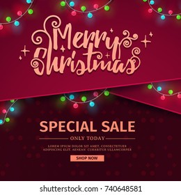 Template for the design of the New Year banner for promotion. Christmas banner for sale with decor of red ribbon and luminous garland. Vector