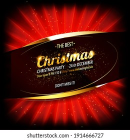 Template for the design of the New Year night banner for promotion. Merry Christmas banner for sale with decor of red ribbon and gold luminous garland. Vector illustration