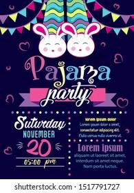 Template design pajama party invitation card, cartoon pajama, leg, hand writing Pajama Party