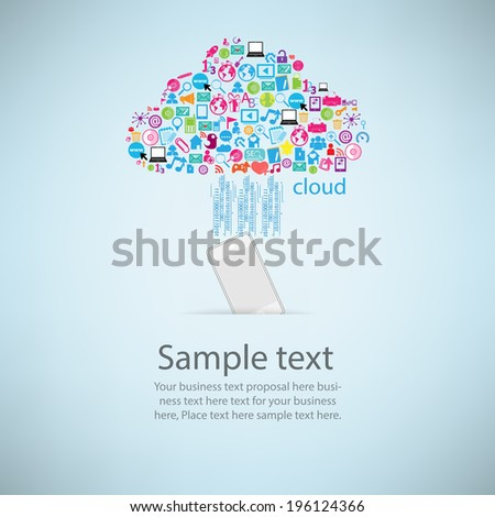 Template Design Phone Idea Clicking Cloud Stock Vector Royalty Free