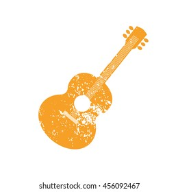 Template Design Poster with acoustic guitar silhouette. Idea for Live Music Festival, show. Entertainment or club promotion, advertisement element. Musical instrument symbol, logo.Vector illustration.