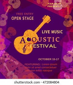 Template Design Poster with acoustic guitar silhouette. Live Music Festival concept. Idea for musical concert promotion banner. Vintage style. Bright color scratched background.  Vector illustration.