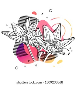 Template design print with flower line. Poster with modern abstract gradient shape with lily blossom.  Illustration for t-shirt,  summer and spring banner. Vector.