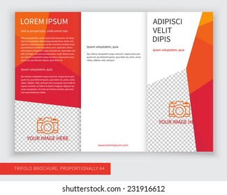 Template design of red trifold brochure with polygons. Editable and light vector with places for photos. Proportionally A4