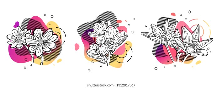 Template design set print with flower line. Poster with modern abstract gradient shape with floral blossom.  Illustration for t-shirt,  summer and spring banner.  Vector.