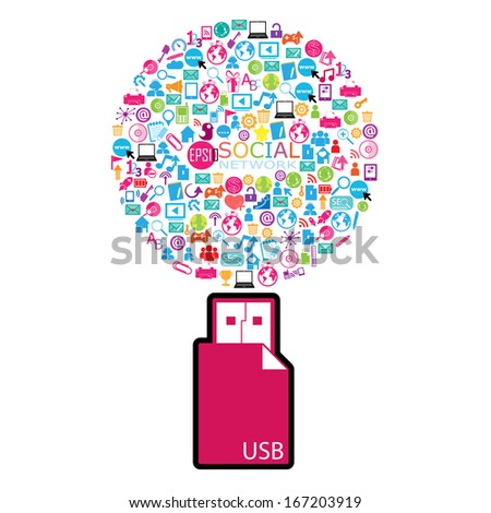 Template Design Social Network Icons Background Stock Vector