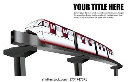 Template design with title mockup,monorail train on sky subway. New modern urban infrastructure in a modern city