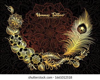 Template design with traditional indian henna tattoo with peacock feather. Template for wedding invitation, greeting card, banner, gift voucher, label. Vector illustration..