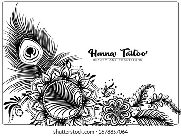 Template design with traditional indian henna tattoo with peacock feather. Template for wedding invitation, greeting card, banner, gift voucher, label. Outline vector illustration..