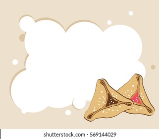 template design with two different tasty Hamantaschen for Jewish holiday Purim. vector illustration