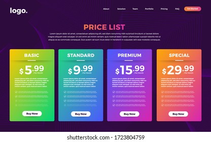 Template Design UX/UI price list. Landing page website product package price box and button buy now. Vector Illustrate.