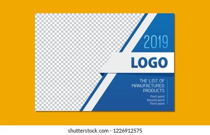 Template for design, vector illustration. Business calendar 2021, 2022, cover, price, catalog. Colors: black, blue, white.