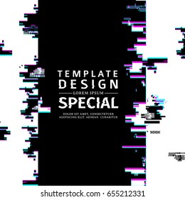Template design  vertical banner glitch style.  Vector distorted  background texture. Computer screen error. Digital layout with broken noise abstract pixel effect.  Advertising with modern backdrop.