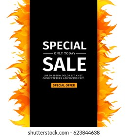 Template design vertical banner with Special sale. Black card for hot offer with frame fire graphic. Invitation layout with flame border on white background. Vector.