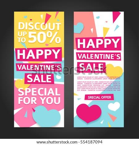 template design vertical banner valentines day のベクター画像素材