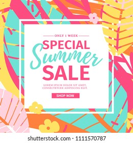 Template design web  summer banner offer with colorful texture. Summer flyer for season offer  and sale on abstract brush background with flower decoration and graphic leaf element. Vector