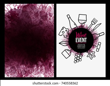 template design with wine icons pattern background. Background texture of wine stains. Idea for your food and drink designs. Vector illustrations.