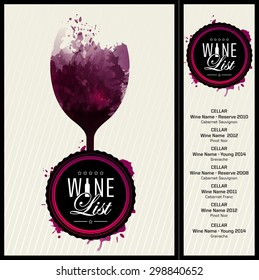 Template design for wine list. Label or logo with classical and modern typography. Background wine stains. vector