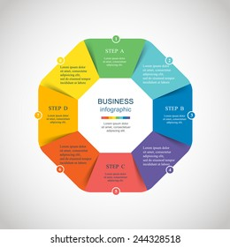 Template for diagram, graph, presentation and chart. Business concept with 8 options, parts, steps or processes. Abstract background.