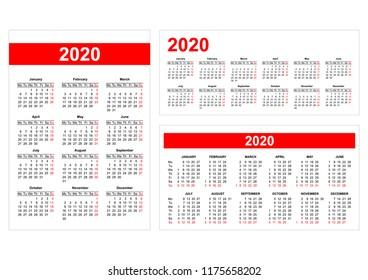 Template - Different format European calendar grid 2020 in vector