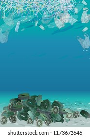 Template with different kinds of garbage, bags, wastes, plastic straws and  plastic utensils in the ocean or sea. The concept of ecology and World Cleanup Day.