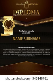 Template of Diploma with golden badge and dark brown elements