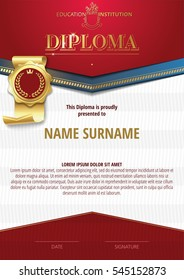 Template of Diploma with golden badge and red elements