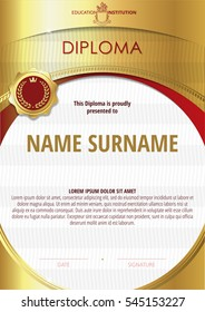 Template of Diploma with golden badge and round frame