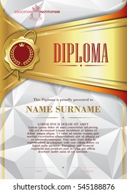 Template of Diploma with golden badge and triangular background, in gold