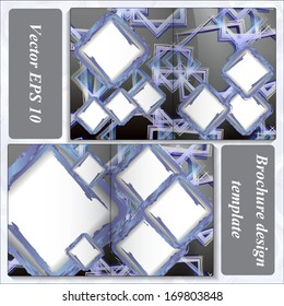 Template dual cards in dark colors with blue squares