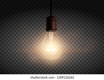 Template Edison retro light bulb is glowing in the dark. Isolated on a transparent background. Stock vector illustration.